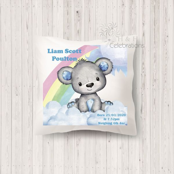 Rainbow Bear Blue Baby Birth Stats Keepsake Cushion